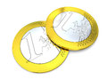 One euro coins detail of two on white background Royalty Free Stock Photo