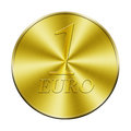 One euro golden coin isolated in white Royalty Free Stock Image