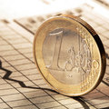 One euro on newspaper chart Stock Image