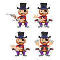 One-eyed bandit with guns, character in four poses Royalty Free Stock Photo