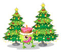 A one eyed monster celebrating a birthday near the christmas tre illustration of trees on white background Stock Photos