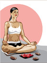 One female practicing yoga in the lotus position she sits illustration before her petals and stones Stock Photos