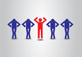 One Figure Standing Out From Crowd Royalty Free Stock Photo