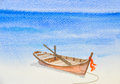 One fishing boat on beautiful beach watercolor painting