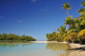 One foot island cook islands aitutaki beach south pacific Royalty Free Stock Photography