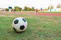 one football on green grass with blur player background Royalty Free Stock Photo