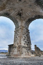 One of four pillars wich stand the Roman Arch of Caparra, Cecere Royalty Free Stock Photo