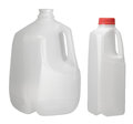 One gallon and quart bottle on white background Royalty Free Stock Photography