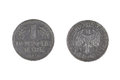 One german mark coin old weathered from germany obsolete both sides isolated on white background Royalty Free Stock Photos