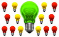 One good idea lots of bad ideas green and many red and yellow light bulbs with weird reflections Royalty Free Stock Photo