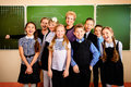 One group happy schoolchildren at a classroom education Royalty Free Stock Photo