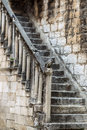 One grunge moldering masonry staircase Royalty Free Stock Photo