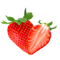 One and half strawberry on white Royalty Free Stock Photo