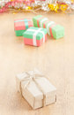 One handmade gift box Royalty Free Stock Photo