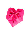One heart shape from pink paper for valentines day Stock Photo