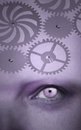 One human eye with gear on the forehead in purple color Royalty Free Stock Photo