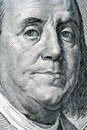 One hundred dollar benjamin franklin from bill dollars colse up Royalty Free Stock Photos