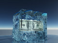 One hundred dollar bill in ice Royalty Free Stock Images