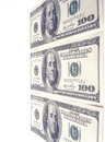 One hundred dollar bills american on white background Stock Image
