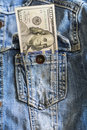 One hundred dollar bills in jeans pocket Royalty Free Stock Photo