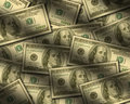 One hundred dollar bills lying flat Royalty Free Stock Photos