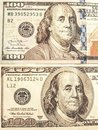 One hundred dollar bills new and old version, front side Royalty Free Stock Photo