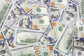 One hundred dollars banknotes background new edition Stock Photos