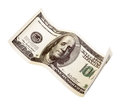 The one hundred dollars close up isolated on a white background Royalty Free Stock Images