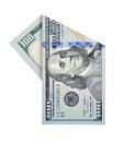 One hundred dollars folded bill isolated on white background Royalty Free Stock Photos