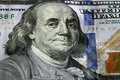 One hundred dollars selective focus on benjamin franklin eyes usd the united states currency money concept Royalty Free Stock Photos