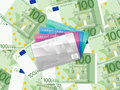 One hundred euro background and credit card cards on banknotes Stock Photography
