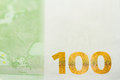 One hundred Euro banknote background close up Royalty Free Stock Photo