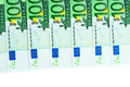 One hundred euro banknotes closeup Stock Images