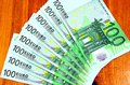 One hundred euro banknotes on wooden table Royalty Free Stock Photo