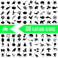 One hundred nature theme icons set Royalty Free Stock Photo