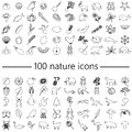 One hundred nature theme outline icons big set eps10 Royalty Free Stock Photo