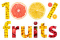 One hundred percent fruits concept Stock Photo