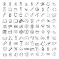 One hundred Vector thin line icons set for infographics and UX UI kit. Contains barber shop, technology & computers, ecology and f