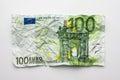 One hundret euro bill , wrinkled 100 euro bill isolated on white Royalty Free Stock Photo