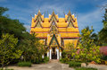 One impressive buildings wat wang wiwekaram sangkhla buri lovely surrounded green garden Stock Photography