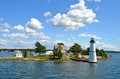 One Island in Thousand Islands Region in fall of New York State. Royalty Free Stock Photo