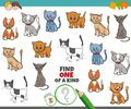 One of a kind game for children with cats Royalty Free Stock Photo