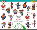 One of a kind game with pirate characters Royalty Free Stock Photo