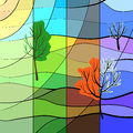 One landscape in four sesons is seasons at the same time stained glass style Stock Photo