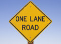One Lane Road Sign Stock Image