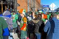 Early morning St. Patrick`s Day revelry in Cleveland, Ohio, USA. Royalty Free Stock Photo