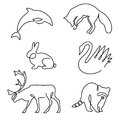 One line animals design silhouette. Royalty Free Stock Photo