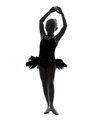 One little girl ballerina ballet dancer dancing silhouette in on white background Stock Image