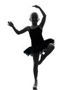 One little girl ballerina ballet dancer dancing silhouette in on white background Stock Photos