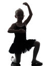 One little girl ballerina ballet dancer dancing silhouette in on white background Royalty Free Stock Photos